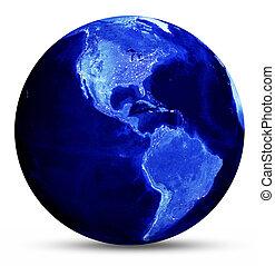 blå, värld karta