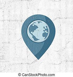 blå, värld, lokalisering, ikon