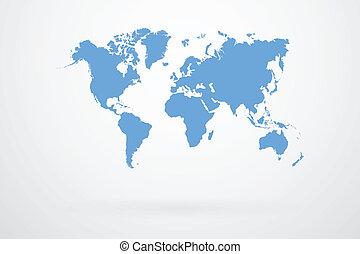 blå, värld, vektor, karta