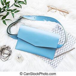 blå, väska, läder