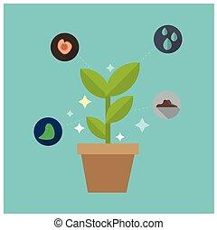 blå, växt, begrepp, vetenskap, avbild, glödande, vektor, bakgrund