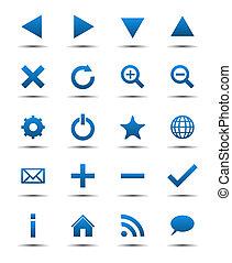 blå, væv navigation, iconerne
