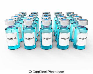 blå, vakcine, flasker, på hvide, baggrund