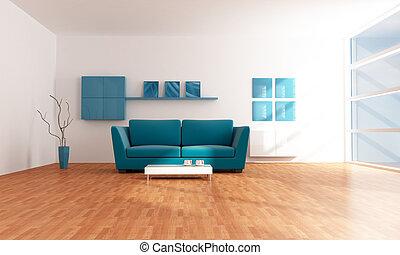blå, vardagsrum, nymodig, lysande