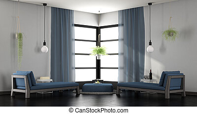 blå, vardagsrum, vit, nymodig