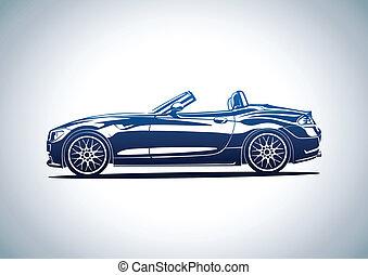 blå, varm, sport, bil