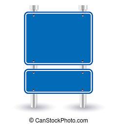 blå, vej underskriv