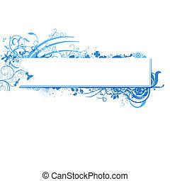 blå, vektor, banner