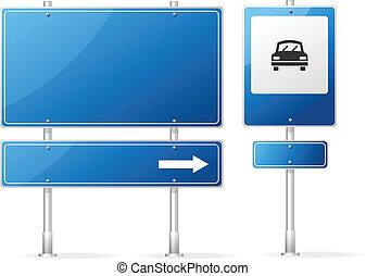 blå, vektor, blank, vej underskriv