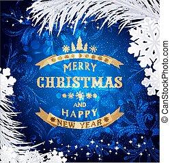blå, vektor, jul, bakgrund