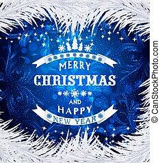 blå, vektor, jul, bakgrund, med, silver, snöflingor, silver, gran, grenverk