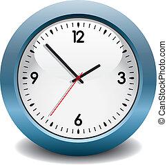 blå, vektor, klocka