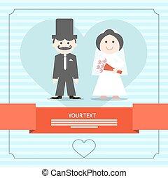 blå, vektor, kort, illustration, bröllop