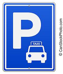 blå, vektor, parkering underskriv