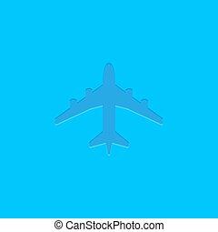 blå, vektor, plan, ikon, på, blå