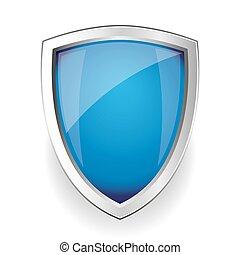 blå, vektor, skydda, tom