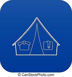 Blå dom, ikon, tält, tecknad film, ikon. Blå, stil, kupol