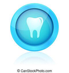 blå, vektor, tænder, knap