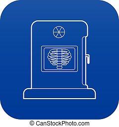 blå, vektor, x-ray, apparatur, ikon
