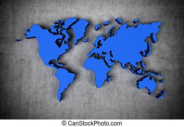 blå, verden kort