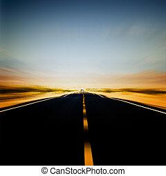blå, vibrerande, avbild, sky, motorväg