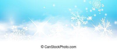 blå, vinter lätta, abstrakt, bakgrund, panorama, baner,...
