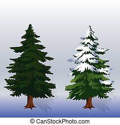 blå, vinter lätta, två, träd, bakgrund, illustration, jul, skog