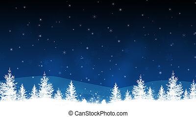 blå, vinter landskab