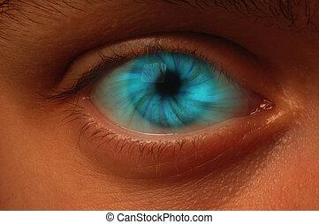 blå, virvel, ögonglob