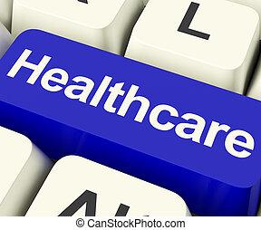 blå, viser, healthcare, sundhed, nøgle, online, omsorg