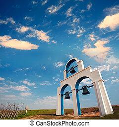 blå, vit, kyrka, sätta en klocka på