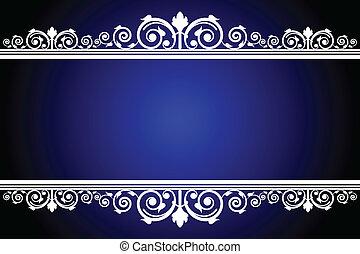 blå, vit, vektor, ram