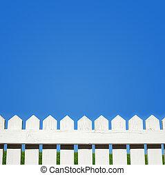 blå vita himmel, staket, postering
