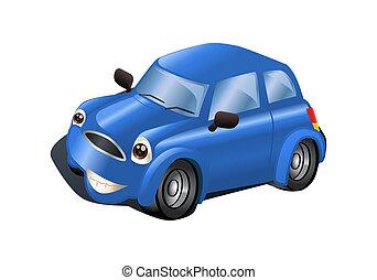blå vogn, på, isoleret, hvid