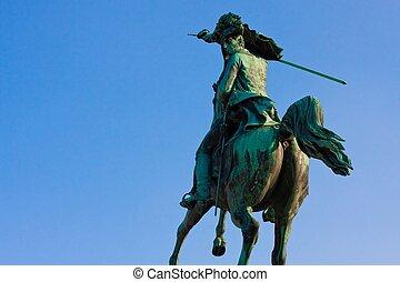blå, wien, ÄRKEHERTIG, Karl,  heldenplatz, Österrike, staty, för,  sky