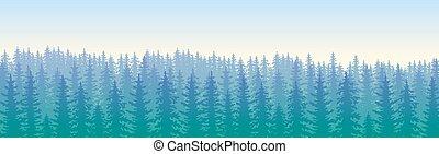 blå, wildforest, landskap