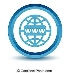 blå, www, ikon