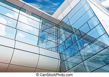 blåa anlägga, vägg, kontor, glas