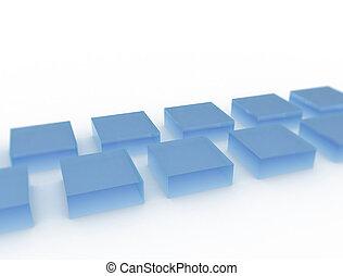 blåa glas, vit, kuben, bakgrund