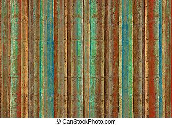blåa gröna, och, röd, bambu, stripes