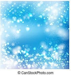 blåa lätta, bokeh, abstrakt, bakgrund
