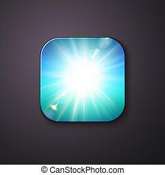 blåa lätta, button., vit, sunburst, eller, lysande