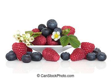 blåbär, och, hallon, frukt
