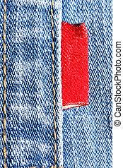 blåbyxor, röd, etikett