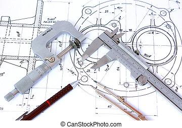 blåkopia, blyertspenna, mekanisk, mikrometer, kompass, klämma