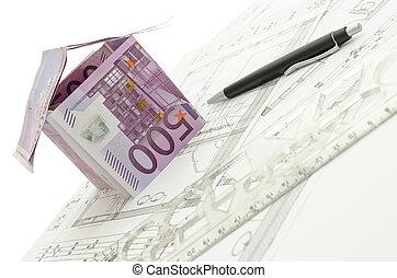 blåkopia, gjord, pengar, hus, fem hundra, euro