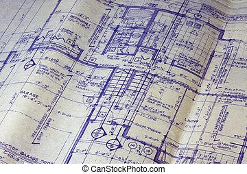 blåkopia, hus, plan, golv