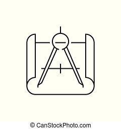 blåkopia, kompass, ikon