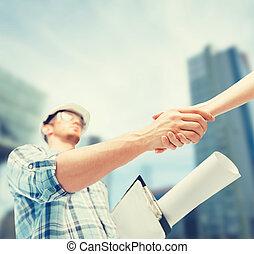 blåkopia, partner, byggmästare, hand skälv