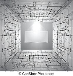 blåkopia, vägg, tapet, light., vektor